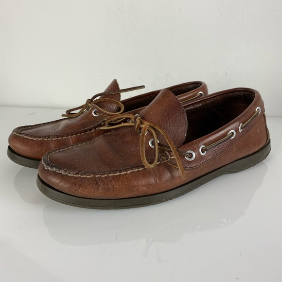 VTG LL Bean USA leather boat slip-on loafers 8W